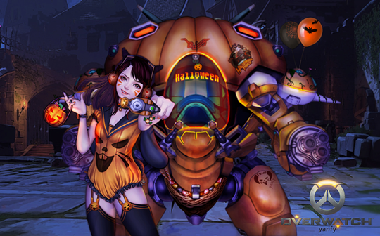 Overwatch halloween d va inven global - Overwatch christmas wallpaper ...