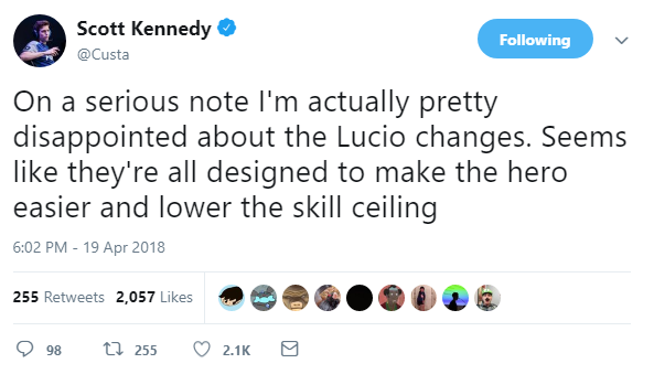 While It S Accepted That Lucio Has Received Buffs Some Pro Players Felt The Skill Ceiling Been Lowered Custa For Example Was Not Impressed
