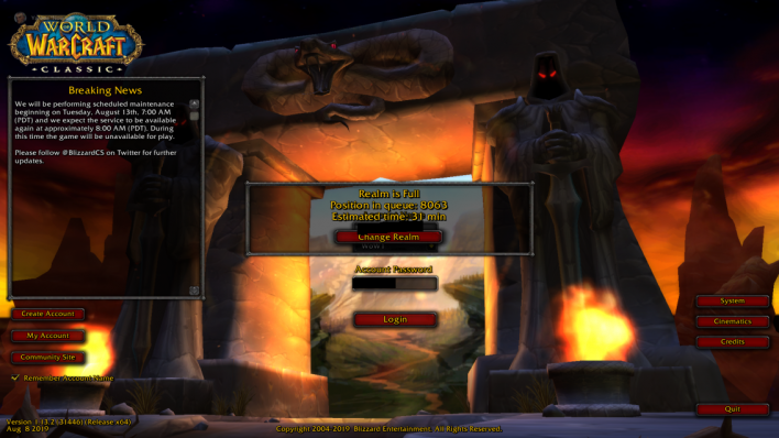 Thousands attempt to reserve their World of Warcraft: Classic names