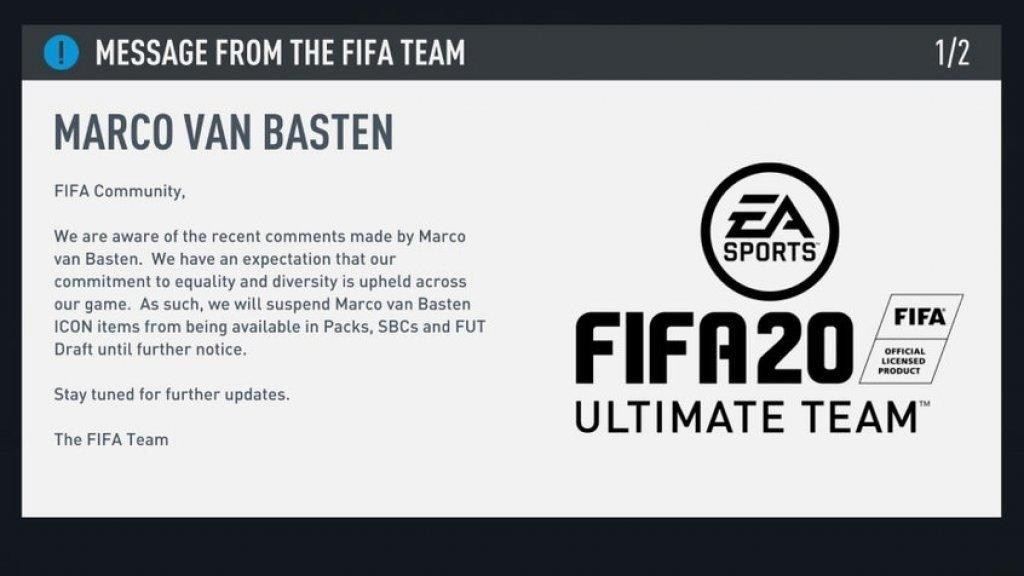EA Sports Have Removed Marco Van Basten From FIFA 20